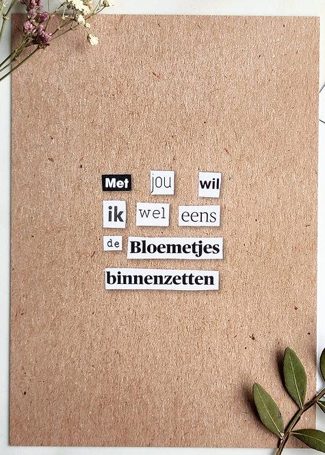 bloemetjes binnenzetten - postkaart