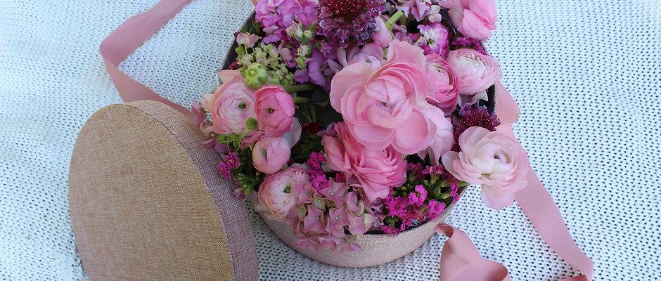 Flowers HatBox Pink