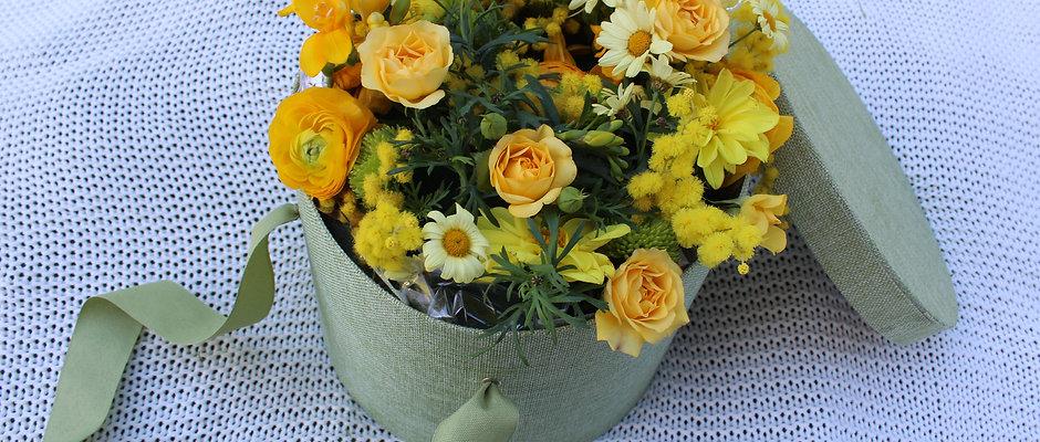 Flowers HatBox Green
