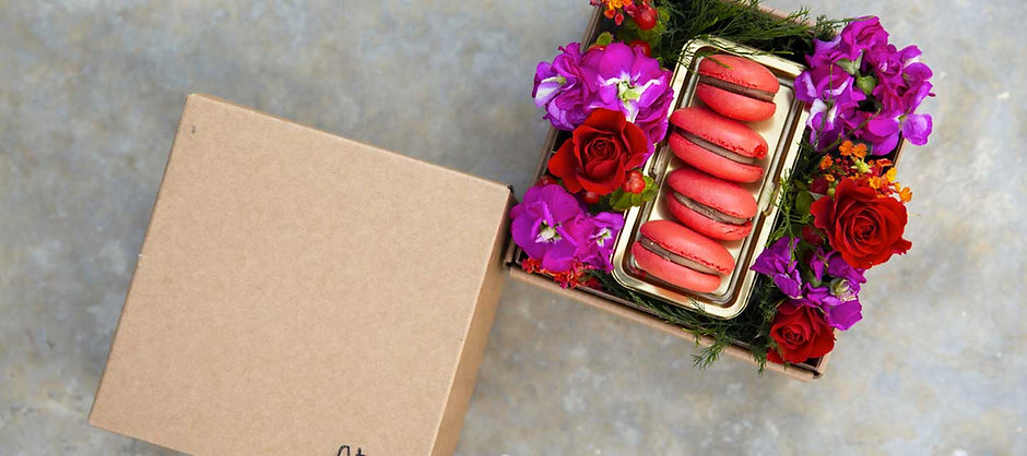 FLOWERS BAGBOX RED&VIOLET