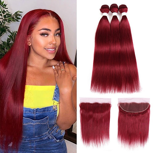 Straight Hair Bundles With Lace Frontal 13x4 Red Burgundy 99J Remy Hair