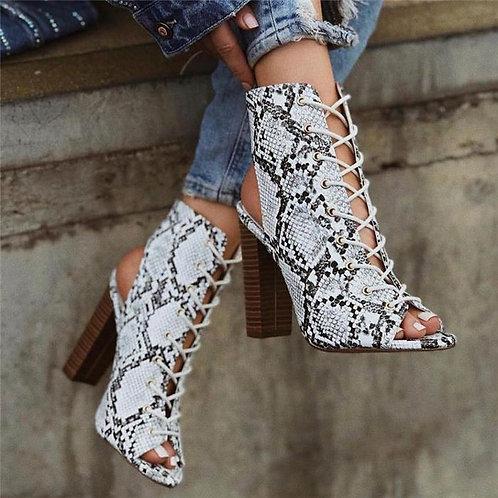 Snake Skin Platform Heels