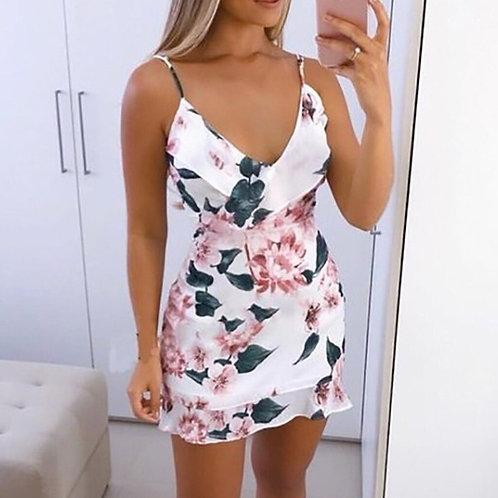 Sexy v Neck Summer Dress Floral Printed