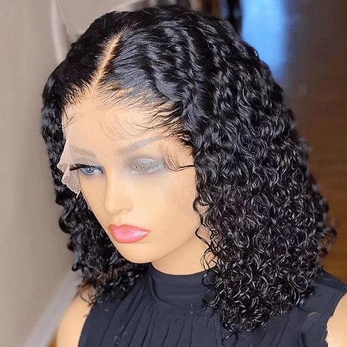 Short Bob Brazilian Curly Lace Front Human Hair Wigs T Part