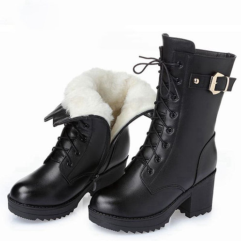Winter Leather Thick Wool Warm Women High-Heeled Genuine Boots