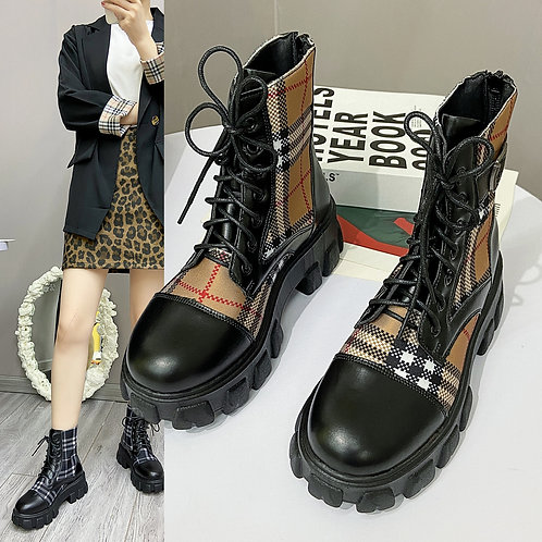 Luxury Platform Boots Military Winter Lace Up Boots Women's Boots
