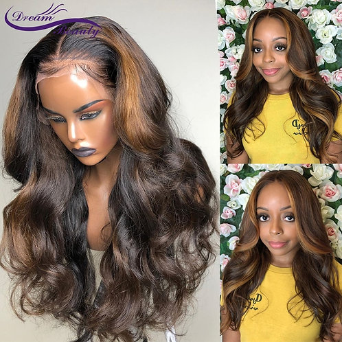 Deep Part Lace Front Ombre  Brazilian Remy Wavy Wig