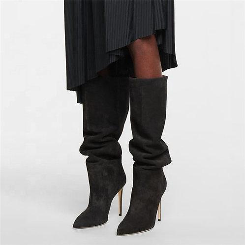 2021 Ladies Winter Point Toe Crocodile Print Knee High  Boots Microfiber Leather
