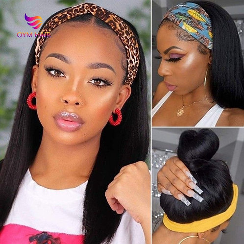180% Densty Headband Wig Human Hair Wigs Straight Human Hair Wigs