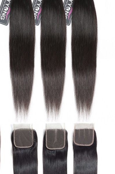 Peruvian Straight Hair 3 / 4 Bundles With Closure 100% Remy