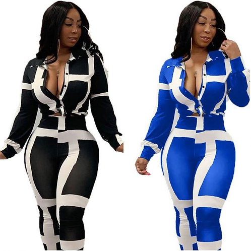 Casual Stripe Long Sleeve Size Plus Size Two Piece Set