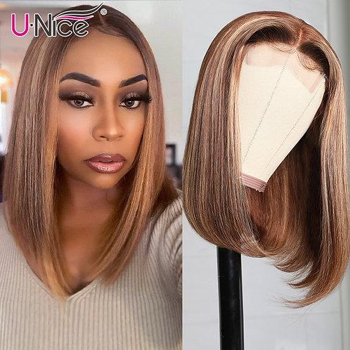 Honey Blonde Highlight Wig Human Hair Peruvian Straight Short Wig