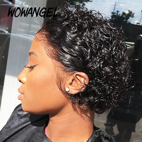 13x4 Lace Front Wigs Short Curly Pixie Cut Wig Human Pre Plucked Bleached Knots