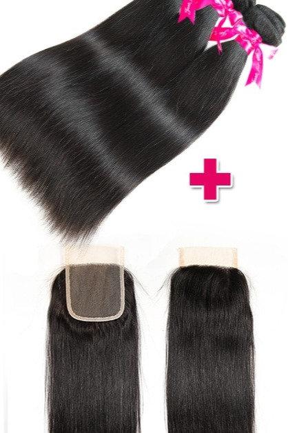 Princess Peruvian Straight Hair 3 Bundles With Lace Closure 1B