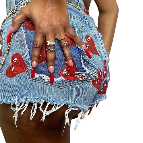 Booty Blue Colorful Street Wear Shorts Jeans