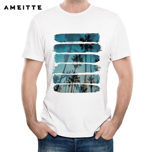 Tropical  Geek White Printed Tshirt