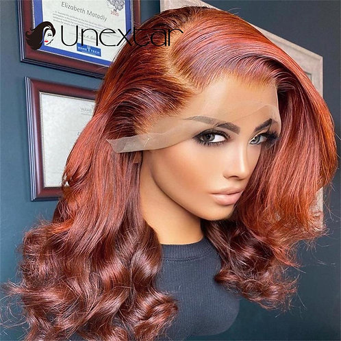 Ombre 180% Brown Honey Orange Colored 13x4 Lace Wig Brazilian  Wig