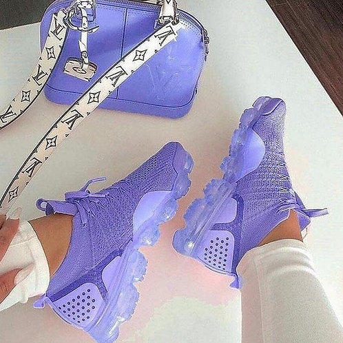 Breathable Lace Up Sneakers Air Sneakers Purple for Women Sports Shoes