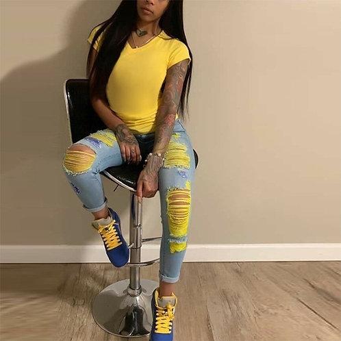 Stretch Jean Denim Plus Size Ripped Women Jeans