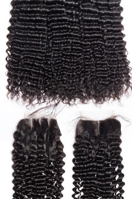 4pcs/Lot Peruvian Deep Curly Wave 3 Bundles With Closure1B#