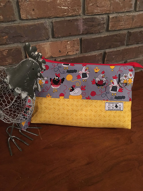 "betwixt bag: ""yellow knittin' chickens'"""