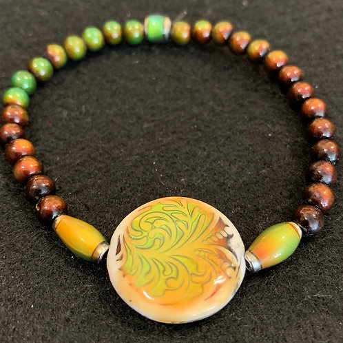 """""""Fanciful Fern"""" (Green) Mirage Bead Bracelet"""