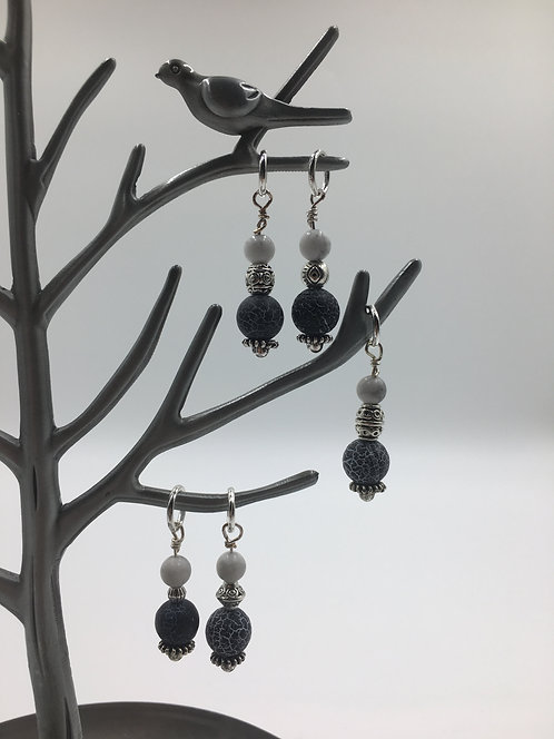 """sublime stitch markers: """"frosted black agate"""""""