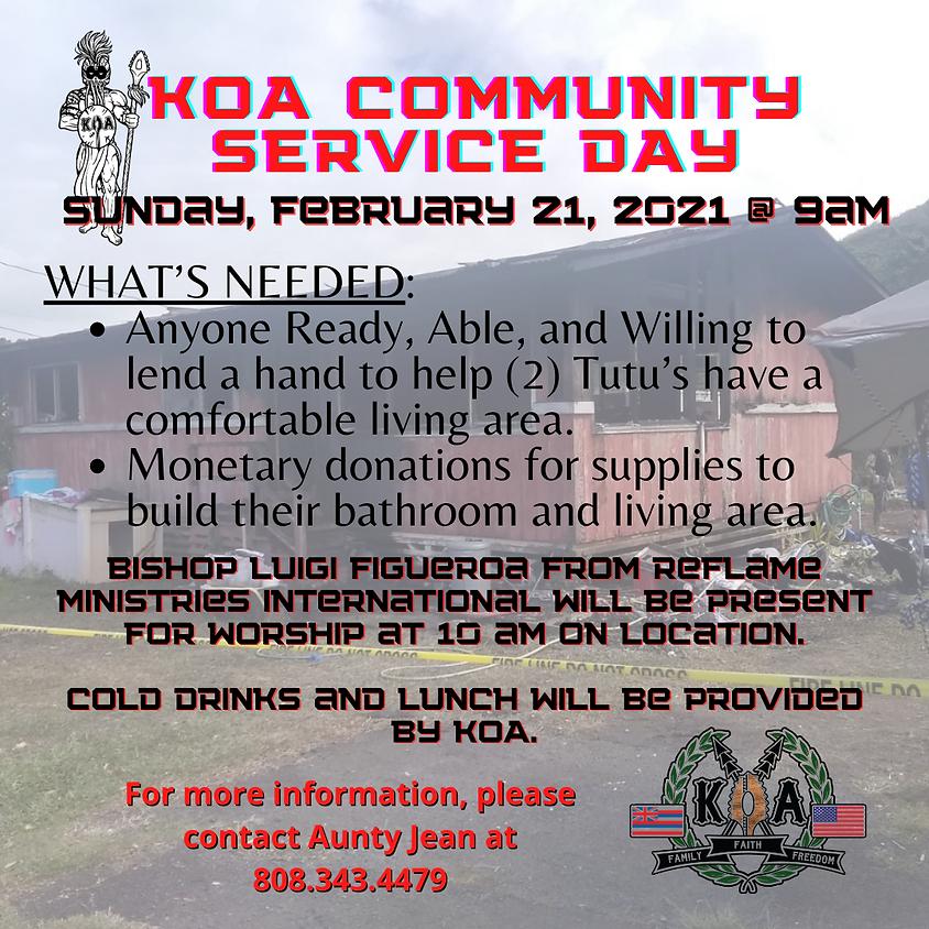 KOA Community Service For Two Tutu's in Waiahole