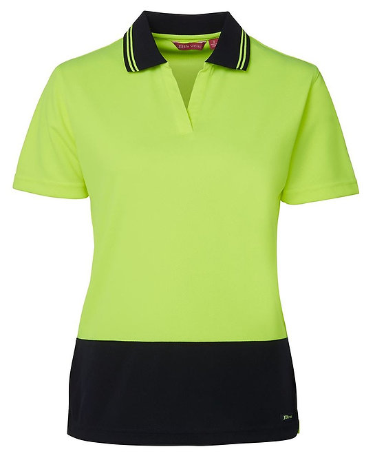 6HNB1 - Hi Vis Ladies S/S Non Button Polo