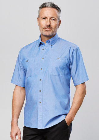 MENS WRINKLE FREE CHAMBRAY SHORT SLEEVE SHIRT   SH113