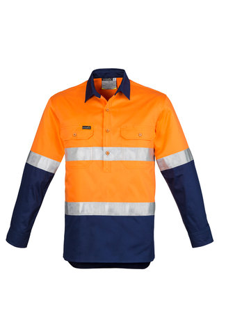MENS HI VIS CLOSED FRONT L/S SHIRT - HOOP TAPED   ZW550