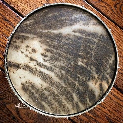 """11"""" Walnut stained goat hide pre-mounted banjo head"""