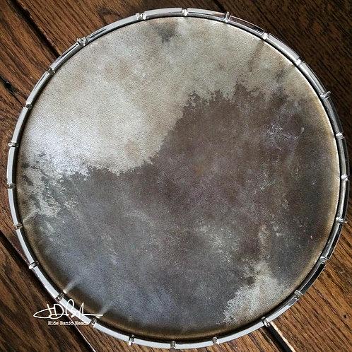"11"" Natural Pattern goat hide pre-mounted banjo head"