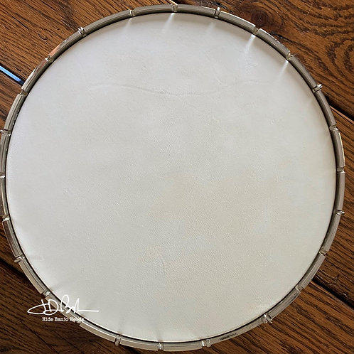 """11"""" White Goat Hide pre-mounted head - blemished / bargain  finished"""