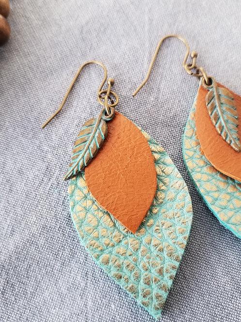 Boho leather ear rings