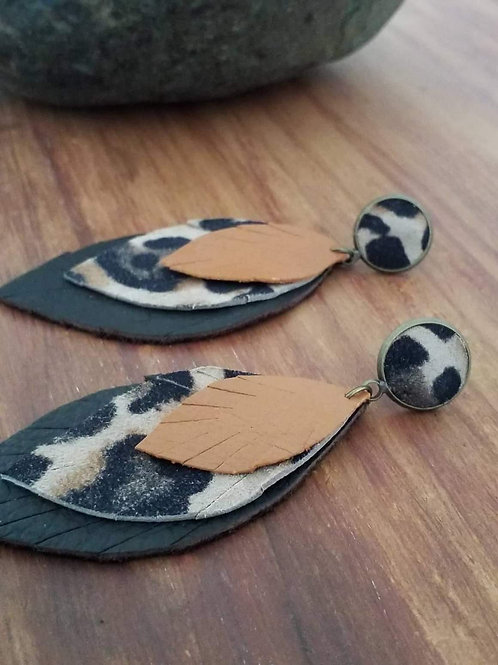 Leopard print leather ear rings