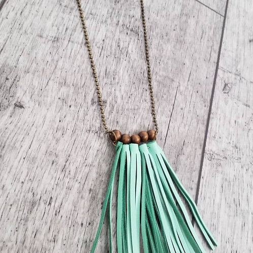 Coffee mint boho tassel necklace