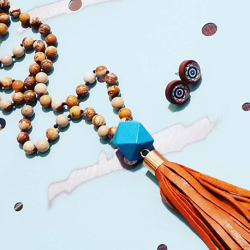 Stone and tan leather tassel necklace