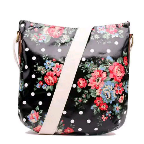Black floral oilcloth bag