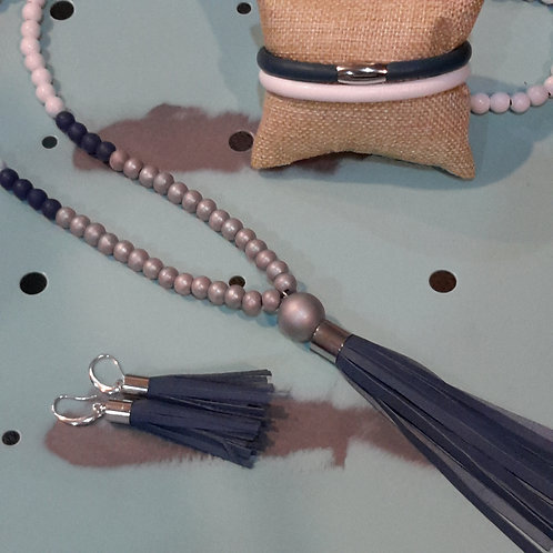 Navy, silver and white tassel necklace