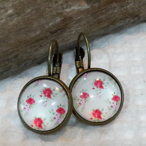 Red floral ear rings
