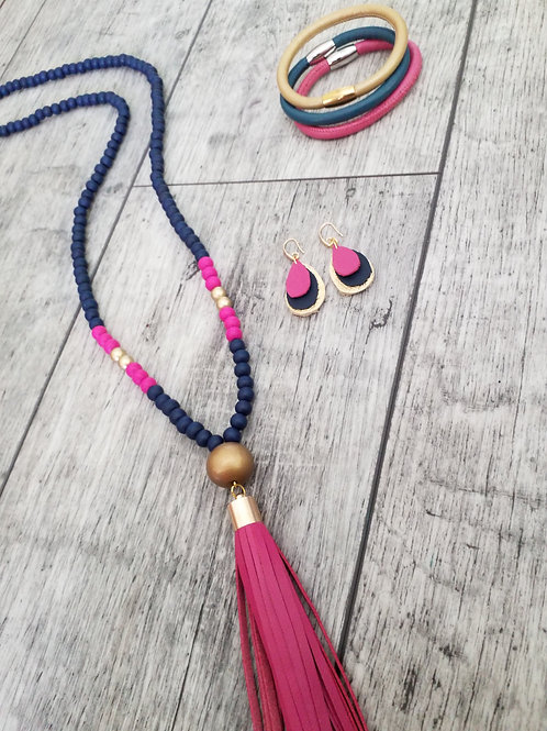 Navy fuscia and gold drop ear rings