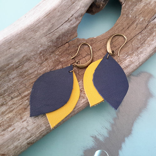 Navy and mustard leather ear rings