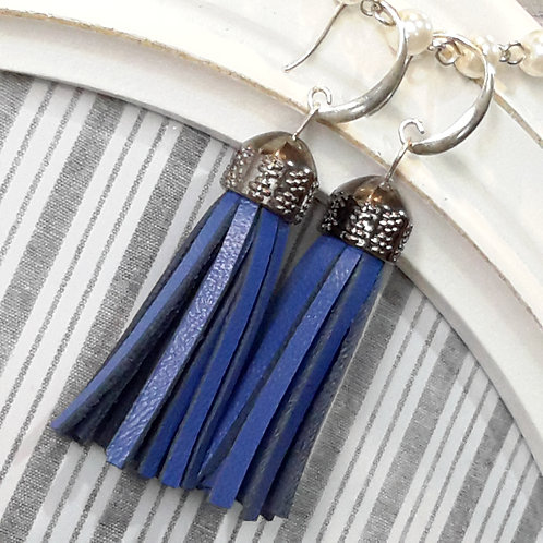 Blue leather tassel ear rings