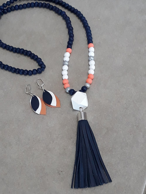 Navy coral and white tassel necklace