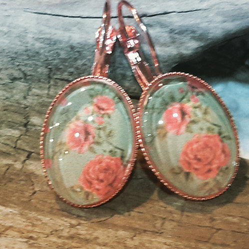 Vintage blue floral ear rings