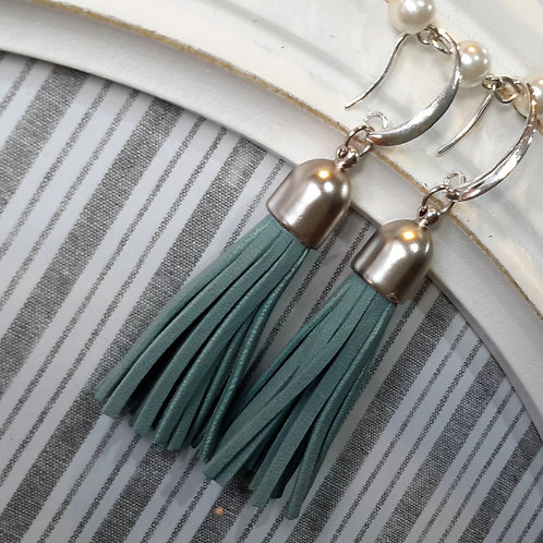 Teal leather tassel ear rings