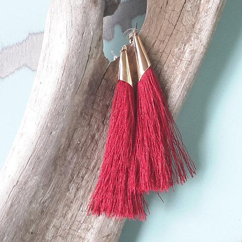 Deep red tassel ear rings