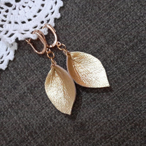 Gold leather ear rings