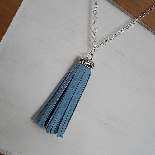 Blue minimalist leather tassel necklace